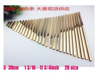 "100pcs  3--30cm(1 3/16""--11 3/4"") Light gold  Metal Edge Strip Handbag  Snap High-end ,handmade leather bag edge wrapping strip  KS-471"