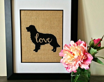 Pet Silhouette burlap print. Golden Retreiver. Custom pet burlap print.