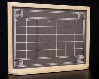 "Large 24""x36"" Black ""Art Deco Chalkboard"" Calendar Dry Erase Board / Whiteboard - Family Command Center Wall Calendar / Perpetual Calendar"
