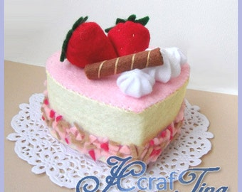 Heart-Shaped Strawberry and Cream Cake PDF pattern - Style 2