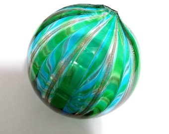 "HUGE Marono Venetian Italian Blue Green Gold GIANT Hand Blown Glass Bead 2.5"" Diameter"
