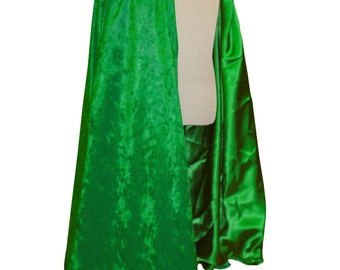 READY TO SHIP -   Green Velvet and Satin Reversible Child's Play Cloak