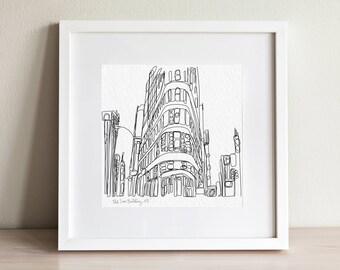 New York City Flat Iron Building doodle print