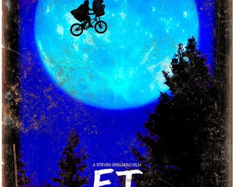 "E.T. Steven Spielberg Extra Terrestrial 10"" x 7"" Reproduction Metal Sign I13"