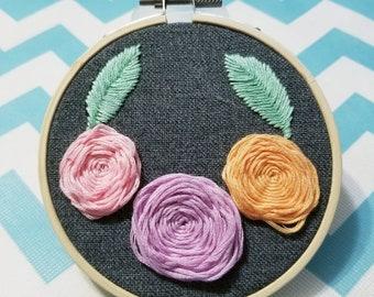 Three Roses, hand embroidered,  hoop art