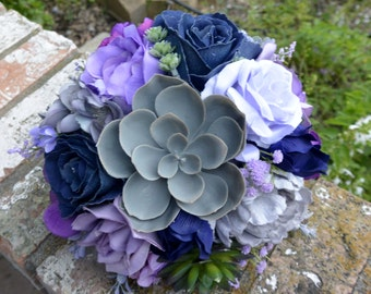 Navy & Lavender Succulent Bouquet