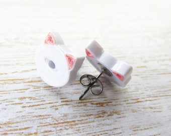 White Cat Earrings, White Cat Jewellery, Pinup Earrings, Rockabilly Earrings, Quilled Earrings, Quilled Jewellery, Stud Earrings, White Cats