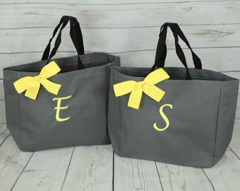 6 Personalized Bridesmaid Gifts Tote Bags Personalized Tote, Bridesmaids Gift, Monogrammed Tote, Wedding Party, Team Bride
