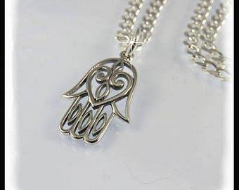 Hamsa Hand Necklace, Sterling silver Hamsa Hand, Hand of Fatima Necklace, Sterling silver chain, Good Luck jewelry, Hamsa Hand jewelry