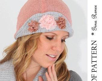 Flapper hat  pattern with a modern twist. Cloche Hat sewing pattern- PDF.