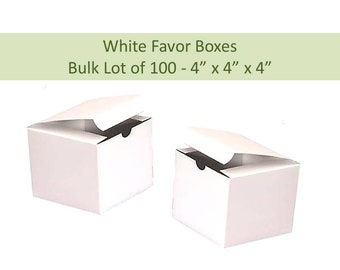 100 Favor Boxes 4 x 4 - White Favor Boxes - Pack of 100 Boxes Wedding Favor Box Candle Favor Boxes Soap Gift Boxes 100 White Gift Boxes
