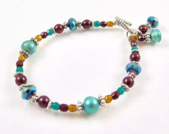 MAJOR MARKDOWN - Rich Autumn Colored Delicate Beaded Bracelet with dangles