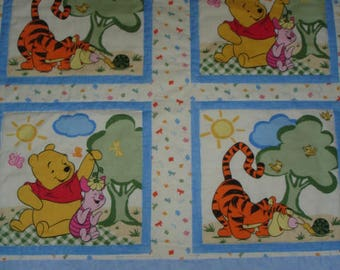 Winnie the Pooh, Tigger, Eeyore & Piglet in the 100 Acre Woods/ Baby, Toddler/ Pastel Print Quilt 43 x 53 Handmade NEW