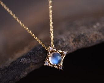925 Silver with Rose Gold Plated Luxury Moonstone Pendant Necklace, Jewelry Gift for Women