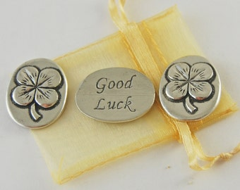 Set of 3 Clover Good Luck Inspiration Coins with Organza Bag