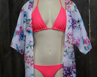 Kimono Cover Up, Coverup, Kimono, Swimsuit Cover Up, Swimsuit Coverup, Beach Cover Up, Resortwear, Vacation Wear, Bohemian Clothing, Sheer
