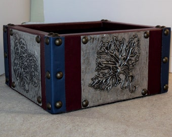 Wood box with leather, Hand embossed, repousse, tooled metal,  Unique, Unusual, One of a Kind, Storage, Organizing, Gift, House Warming