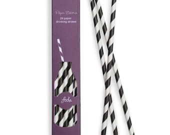 Paper Straws | Black and White Striped Paper Straws | Black Straws | High Quality | Retro Straws | Party Supplies | The Party Darling