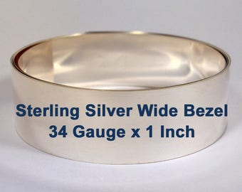 34ga x 1 Inch Wide Bezel - Dead Soft Sterling Silver - Choose Your Length