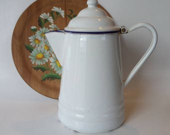 Enamelware Coffee Pot, White and Cobalt Blue Enamel Pitcher, Shabby Chic Country Kitchen, Farmhouse Decor