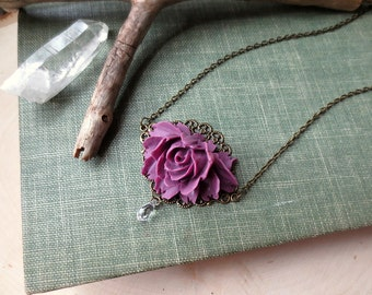 Purple Flower Necklace, Rose Necklace, Crystal Necklace, Antiqued Brass Chain, Romantic Jewelry