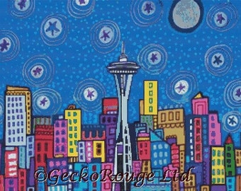 Modern Cross Stitch Kit, Seattle Washington, Modern Folk Art, Abstract Cityscape, Heather Galler, Counted CrossStitch Christmas Gift