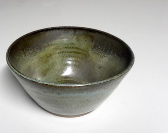 Soup or cereal bowl, stoneware pottery in a blue green brown variegated glaze, 3.5 x 7 inches