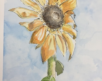 Sunflower Original Watercolor and Pen