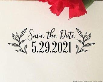 Save The Date Stamp, Custom Engagement Stamp, Wooden or Self Inking Stamp, EcoFriendly Rubber Stamp, Wedding Save The Date Stamp with Leaves