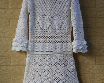 Long Sleeve White Crochet Ruffle Wedding Dress Women Boho Bohemian Hippie Gypsy Clothes