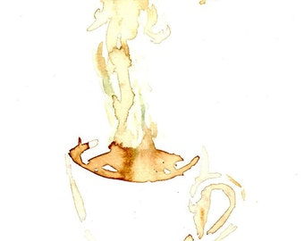 Coffee by Jessica Buhman, Print of Original Coffee Painting, 8 x 10 Brown Coffee Cup Watercolor Painting