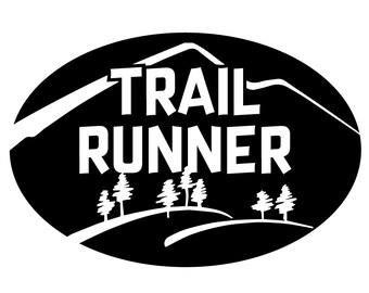 Trail Runner Oval Car Magnet