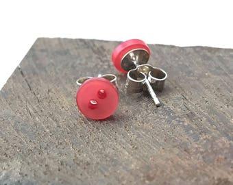 Red stud earrings, stud earrings, red earrings, stud earrings silver, red buttons, button earrings, sterling silver, tiny stud earrings, 925