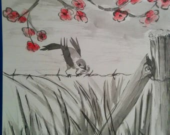 """""""Bird in the"""" ink wash drawing"""
