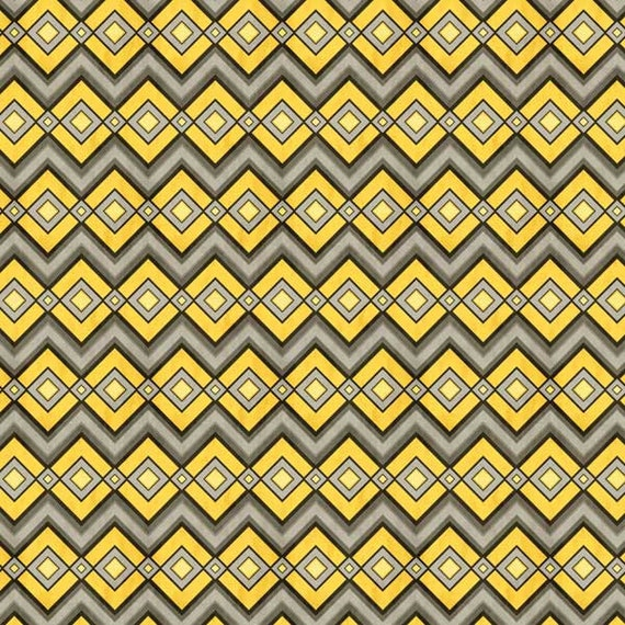 Native Chevron Zig Zag In Yellow, Grey and Black, Felicity for Wilmington Prints, Modern Spring Quilt Fabric By The Yard 42380 959