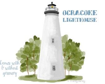 Ocracoke Lighthouse Clip Art, Beach clip art, hand painted clip art, North Carolina landmark, Ocracoke Island