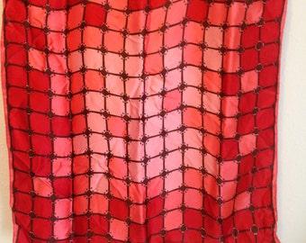 Vintage Scarf, Red, Pink and Brown Scarf, Vintage Patterned Scarf