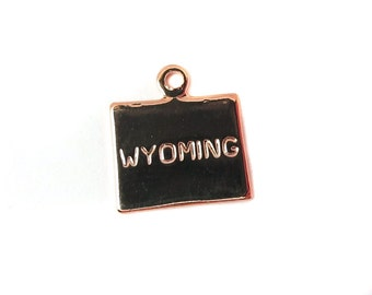 Engraved Tiny ROSE Gold Plated on Raw Brass Wyoming State Charms (2X) (A449-D)