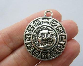 2 Sun moon zodiac sign charms antique silver tone M21
