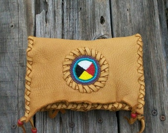 Beaded leather clutch ,  Four directions beadwork , Shamans bag , Soft leather wallet