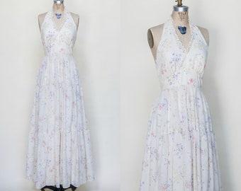 1970s Floral Print Maxi Dress /// Vintage Dress Medium