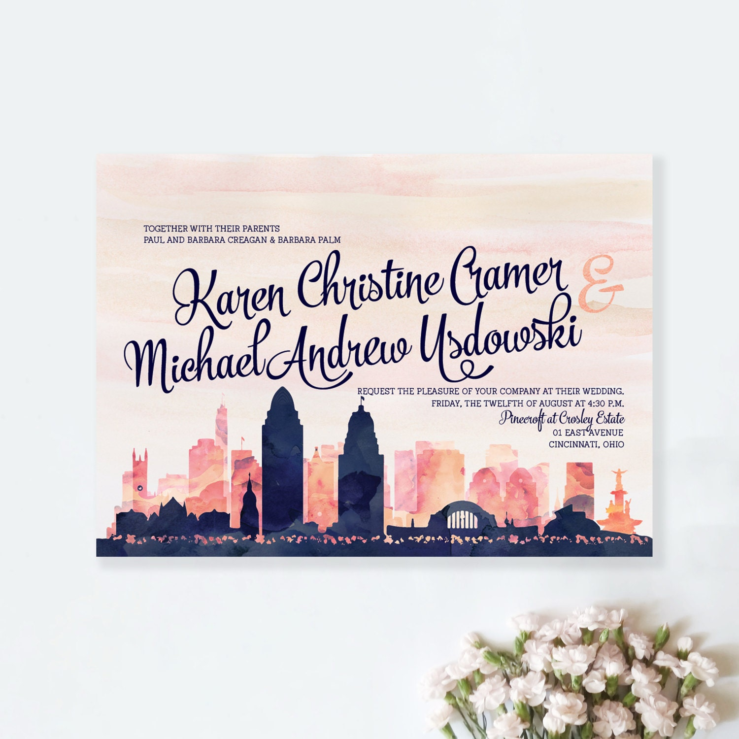 Personalized Skyline Wedding Invitations: SKYLINE INVITATION CARD 5x7 Custom City Skyline Watercolor