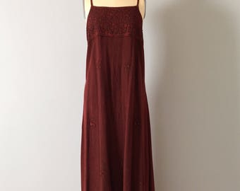 BURGUNDY INDIAN dress | embroidered maxi dress | bohemian full skirt maxi dress