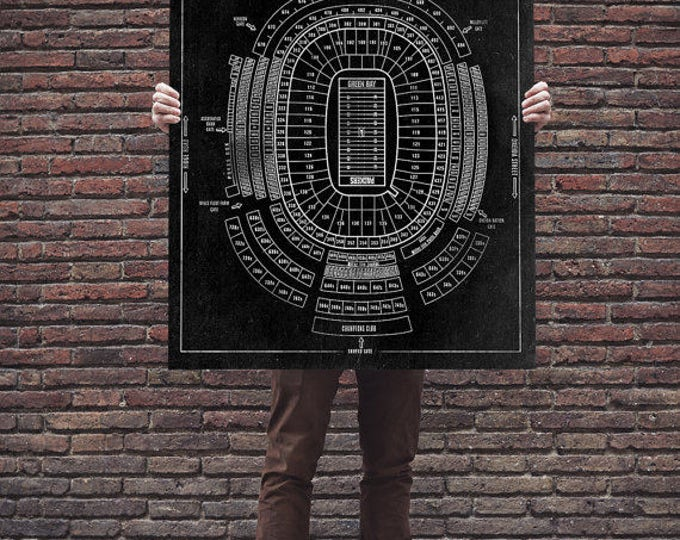 Vintage Style Print Of Lambeau Field Seating Chart On Photo Paper Matte Or