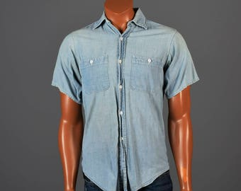 Medium 1950s Mens Big Mac Penneys Sanforized Chambray Short Sleeve Work Shirt Workwear Chest Pockets Faded