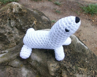 Baby Harp Seal, Soft, Plush Amigurumi Toy Harp Seal, Stuffed Animal, Sea Animal Seal, Gift for Kids, Toybox Toy Seal, Stocking Stuffer Toy