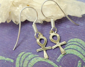 Small Sterling Ankh Earrings, Egyptian Jewelry, Solid .925 Silver Ankh Jewelry