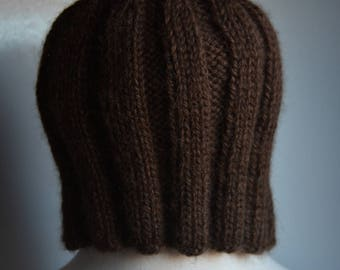Dark Chocolate Brown Ribbed Alpaca Hat