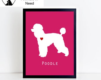 Poodle Dog Printable Wall Art - Modern and Clean Poodle Puppy Dog Decor - Custom Background Color - 8x10