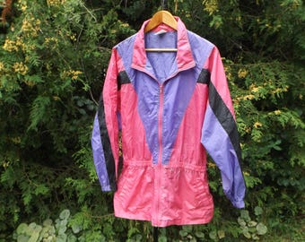 XL Windbreaker, Slouchy Vintage Windbreaker Jacket, 90s Windbreaker, 90s Clothing, BBW Brand, Oversized Windbreaker, Aesthetic, Size XL, 80s